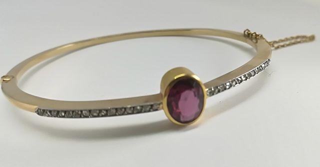 Antigua Pulsera Oro 18k Diamantes y Turmalina