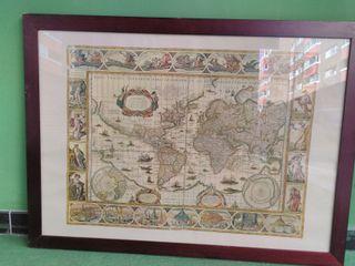 litografía, lámina mapa antiguo enmarcada