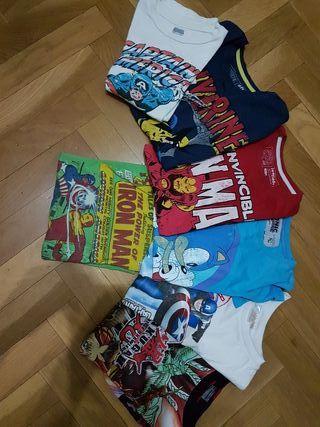 7 Camisetas Súper Héroes, niño 8 años