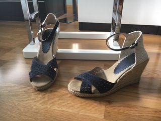 Sandalias cuña yute azules