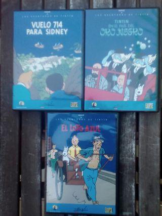4 películas en dvd de LAS AVENTURAS DE TINTIN