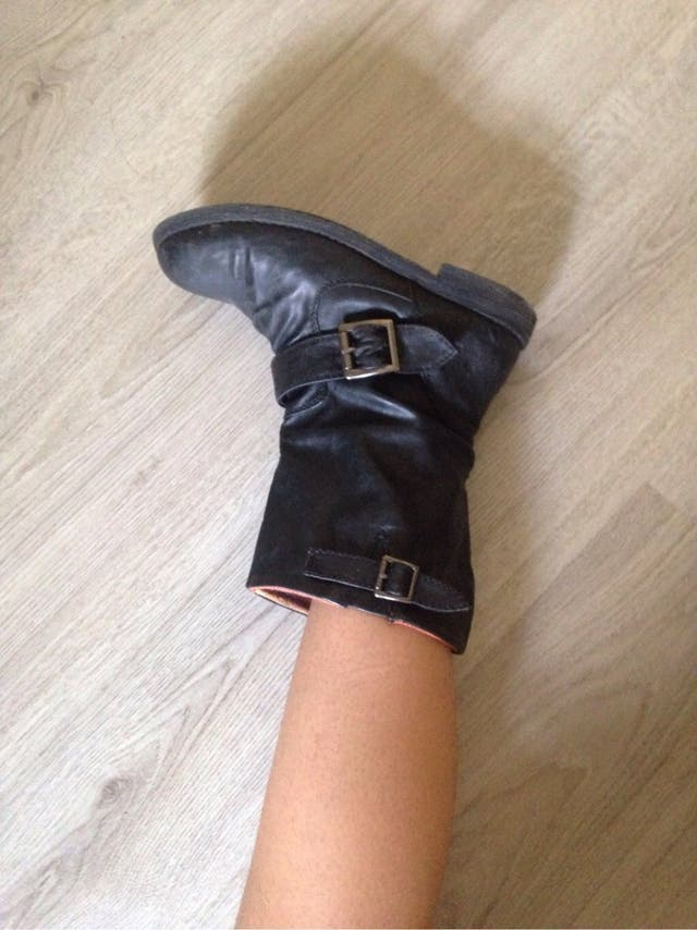 Black leather boots booties