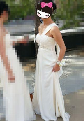 Vestido fiesta boda largo color crema talla M-L