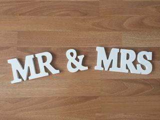 Topper Pastel Letras boda Mr & Mrs