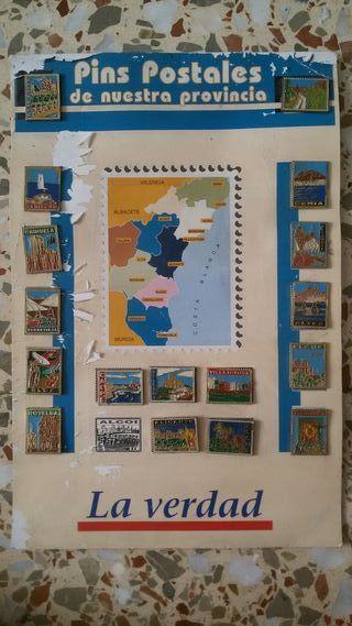 pins postales de colección