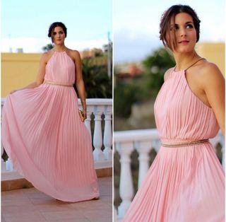 Vestido largo rosa y dorado