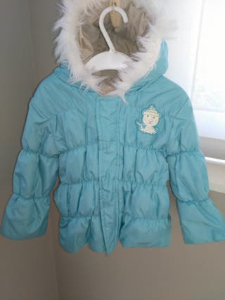 Abrigo azul celeste/color crema reversible.
