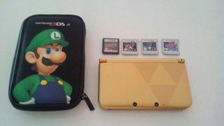 Nintendo 3ds XL dorada y juegos 3DS