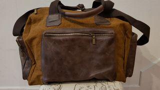 Bolso bandolera tela camel piel marrón