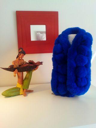Nuevas Bufandas borlas piel de conejo con etiqueta