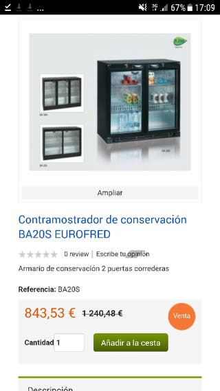 espositor refrigerador eurofred ba20s