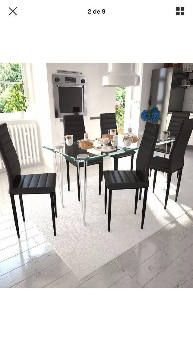 Mesa cristal comedor 6 sillas de segunda mano por 255 € en Lleida en ...