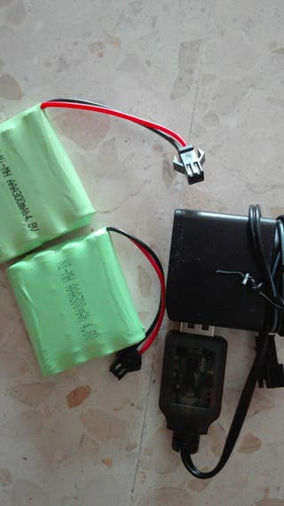 2 baterias rc y cargador
