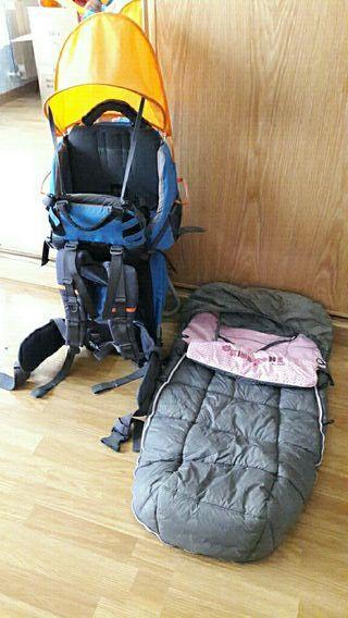 mochila porta bebes senderismo y saco alta montaña
