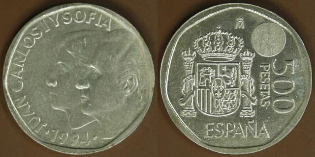 Moneda 500 pesetas plateada