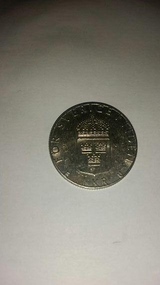Moneda 1 corona sueca kr 1982