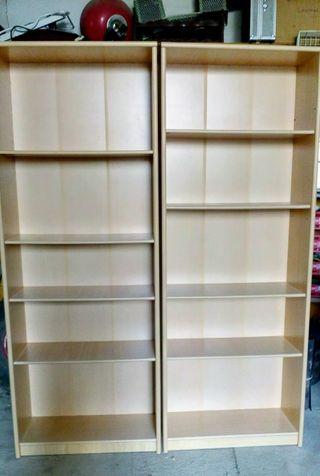 lote 2 estanterías modulares de madera