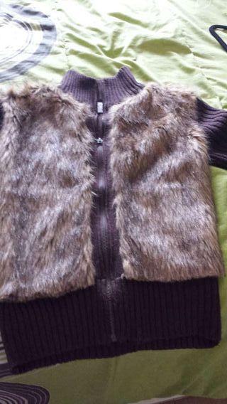 chaqueta cazadora de pelo y punto y cazadora de piel marron impecables
