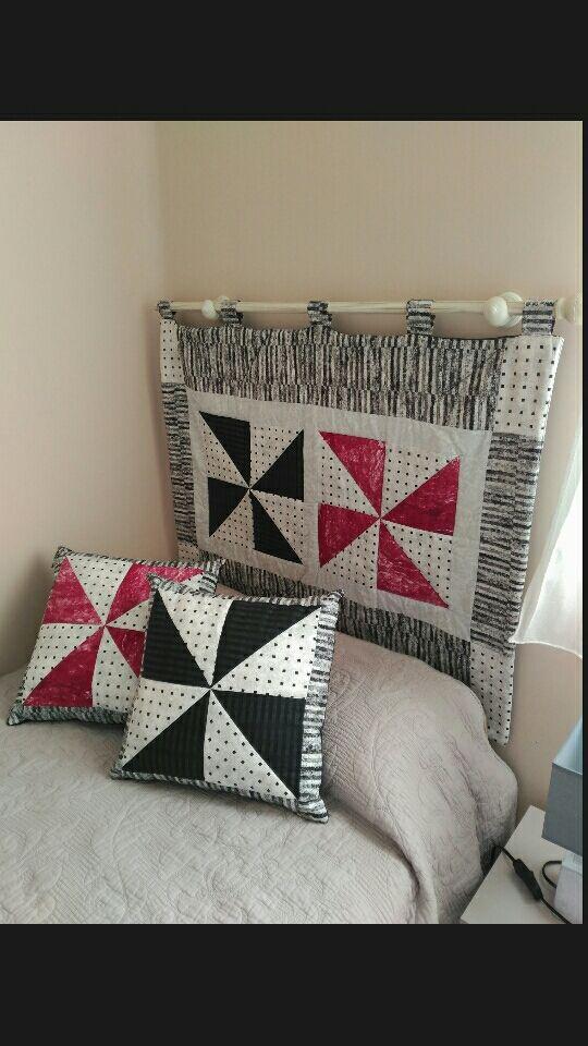 Cabecero y cojines patchwork de segunda mano por 25 en madrid en wallapop - Cojines de patchwork ...