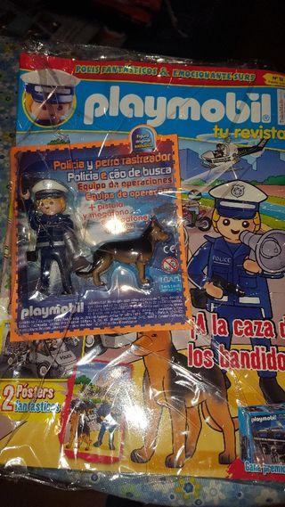 revista playmobil 13 policía y perro rastreador