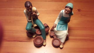 Sujetalibros-pareja de campesinos