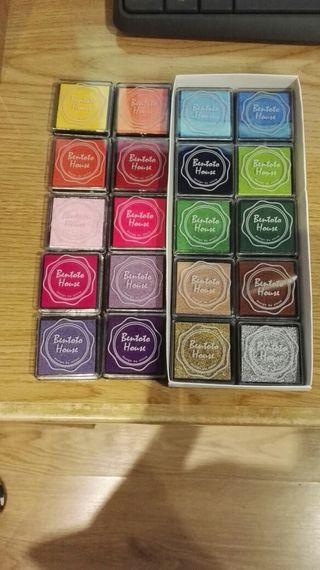 20 tintas de colores para sellos