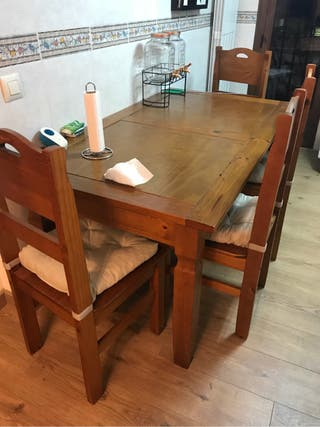 Sillas y mesas madera de roble de segunda mano por 250 for Wallapop mesas