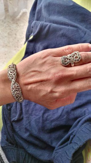 anillo y pulsera plata envejecida
