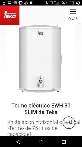 Termo eléctrico 75 litros. Horizontal y vertical.