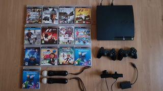 Ps3 Slim 240Gb+FIFA 18+2mandos+13 juegos