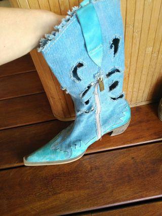 botas azules mujer