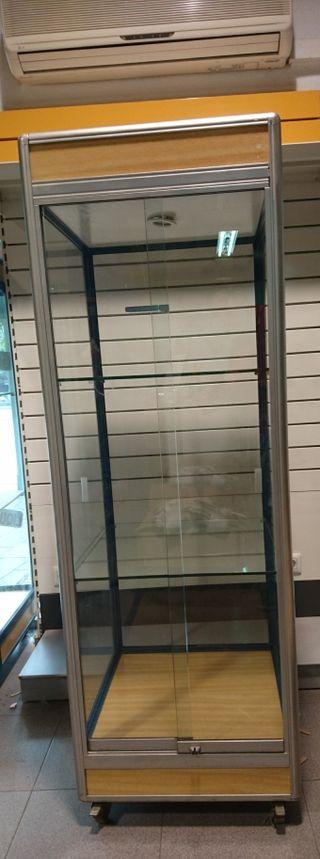 Vitrina de cristal y aluminio con estantes