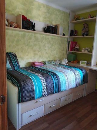 cama nido con cajonera + complementos