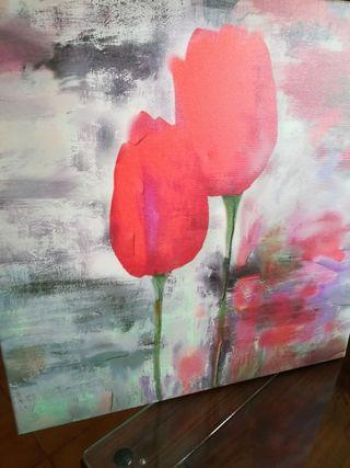 lienzo de tulipanes