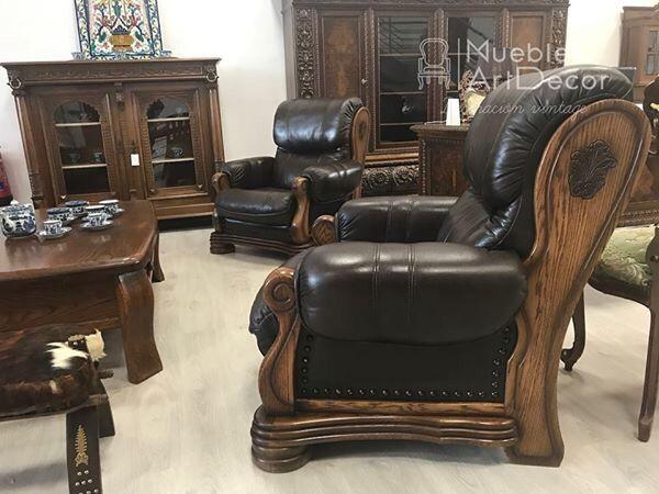 Sofa piel y roble