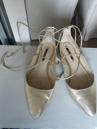 bailarinas doradas zara 38