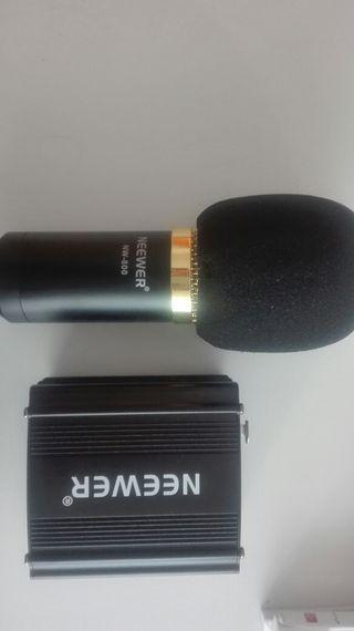 Micrófono condensador + Phantom power+ accesorios