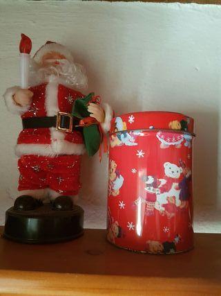 Papá Noel musical y cajita multiusos