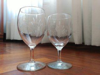 Copas vino y agua