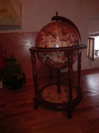 mueble bar decoracion bola del mudo de madera