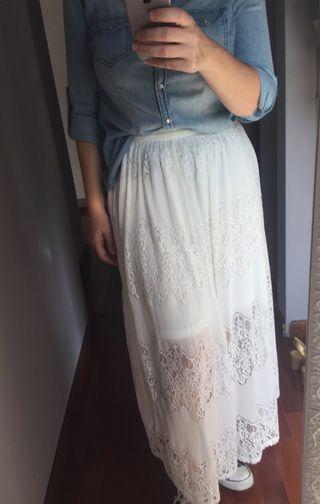 Falda encaje blanca
