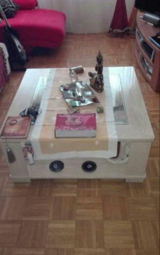 Mesa preciosa,marmol y cristal