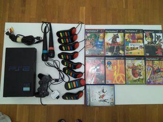 PlayStation 2 Sony+8 mandos buzz+2 micrós+