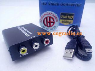 Convertidor de Video Analógico RCA AV CVBS a HDMI