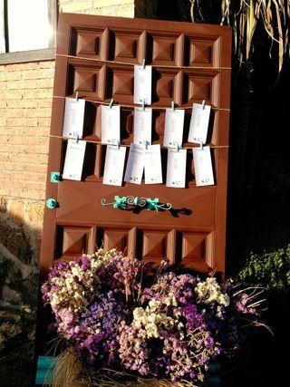 Puerta restaurada para Seatting Plan para bodas