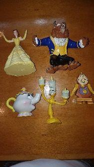 colección figuras pvc goma Bella y Bestia