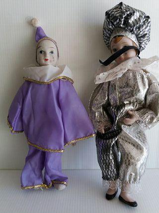 Arlequines antiguos de porcelana 25cm