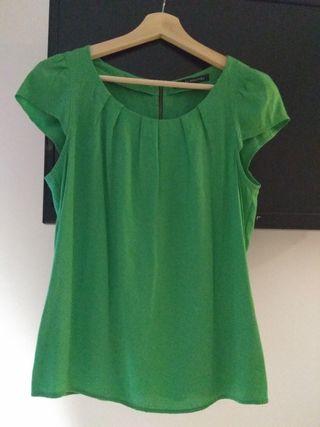 camisa verde talla S Zara