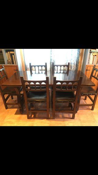 Mesa madera maciza y 6 sillas