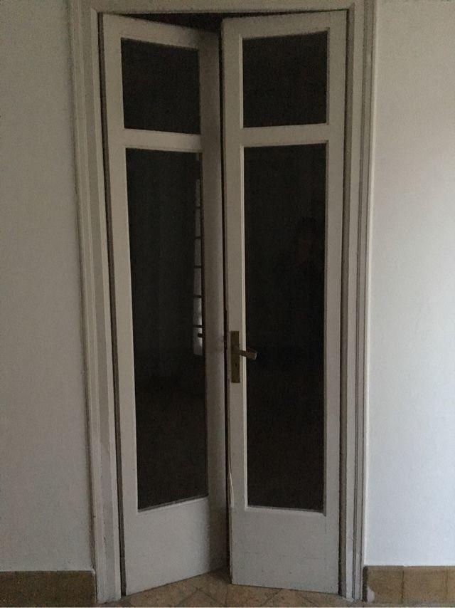 Puerta doble antigua madera cristal de segunda mano por 80 - Puertas madera barcelona ...